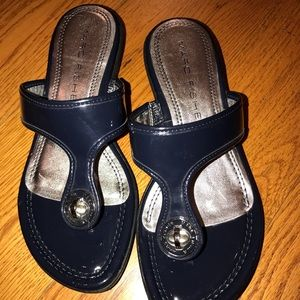 NWOT Marc Fisher Wedge Sandals, Blue